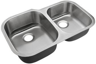 "31"" Undermount Kitchen Double Sink in Stainless Steel"