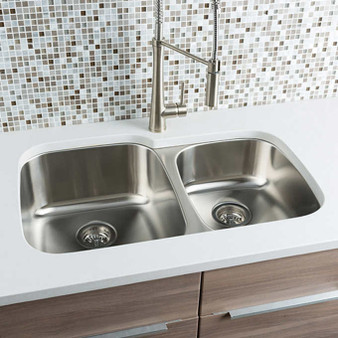 "31"" Undermount Kitchen Double Sink in Stainless Steel"