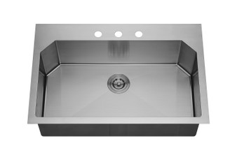 "32"" Undermount Kitchen Single Sink in Stainless Steel"