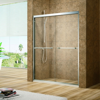 "59"" Tempered Glass Sliding Shower Door"