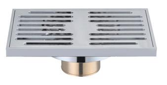 Brass Rectangular Shower Drain in Chrome