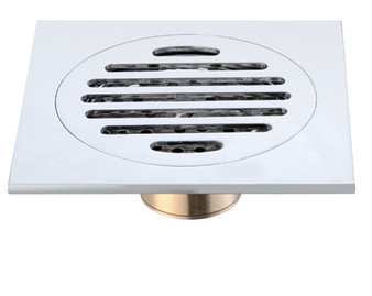 Brass Square Shower Drain in Chrome