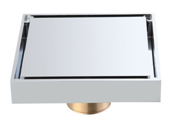Square Brass Shower Drain in Chrome