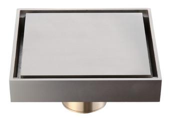 Square Brass Shower Drain in Nickel