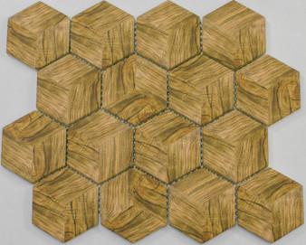 "17AW10 10""x 12"" Hexagonal Glass Mosaic in Beige"