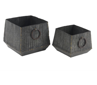 Grey Metal Planters (Set of 2)