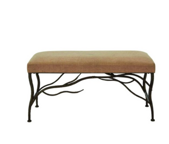 Upholstered Wood and Metal Bench