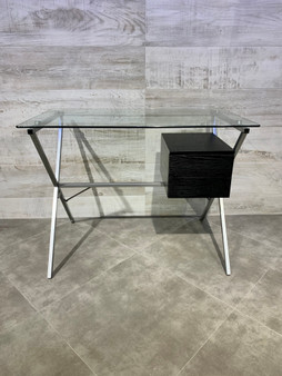 """39"""" Home Office Desk in Silver and Black"""