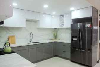PET Frameless Kitchen Cabinets in White & Grey