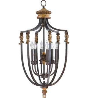 Capella 6 Light Entry Pendant in Toasted Sienna
