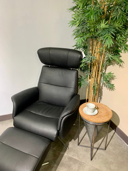 Recliner Chair with Ottoman in Black