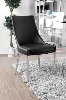 Izzy Side Chair in Silver and Black