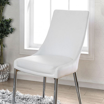 Izzy Side Chair in Silver and White