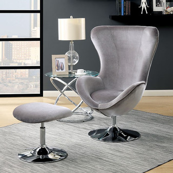 Shelia Accent Chair with Ottoman in Gray