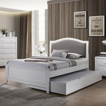 Kirsten Twin Bed Frame with Trundle in White