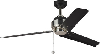 "Arcade 54"" Indoor Ceiling Fan in Midnight Black and Polished Nickel"