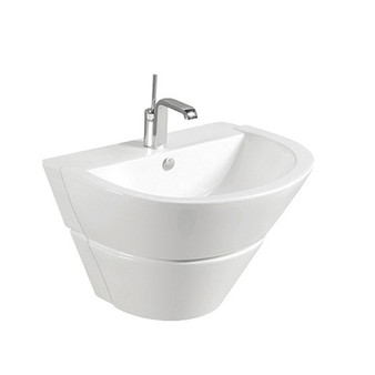 Wall Hung Pedestal Basin in White