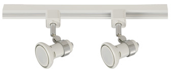 2 Light GU10 Track Light in White and Chrome