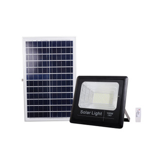 FL09-100W LED Outdoor Solar Light Kit in Black