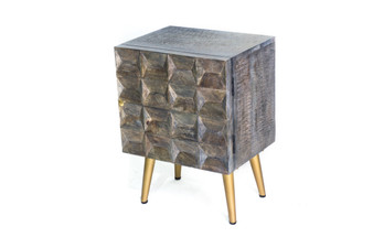 Grey Wood Bedside Table