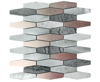 """JMS20173 12"""" Marble and Metal Mosaic Tile"""