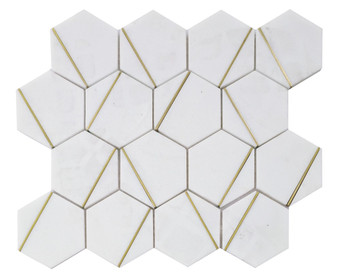 """JMS20177 12"""" Marble and Metal Mosaic Tile"""