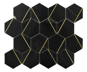 """JMS20178 12"""" Marble and Metal Mosaic Tile"""