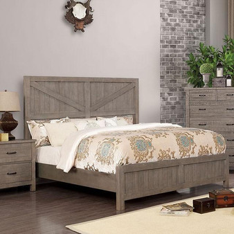 Brenna Plank Bedframe in Gray