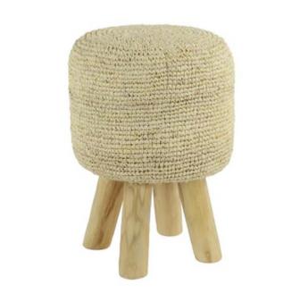 White Fabric Wood Stool