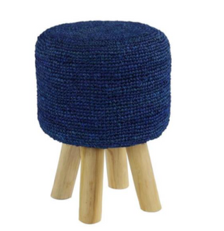 Blue Fabric Wood Stool