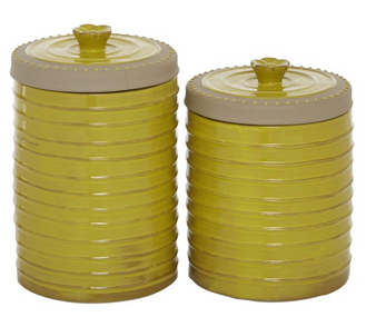 Yellow Ceramic Stone Ware Canisters (Set of 3)