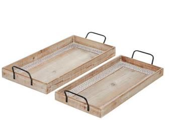 Wood Rectangular Trays (Set of 2)