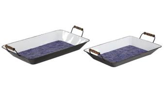 Blue Metal Trays (Set of 2)