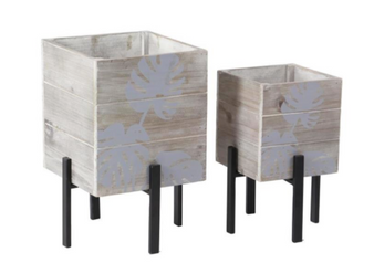 Light Wood Planters (Set of 2)