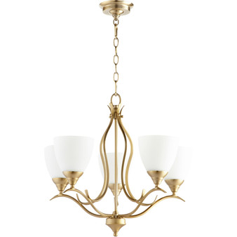 Flora 5 Light Chandelier in Aged Brass
