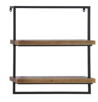 Rectangular Black Metal & Wood 2 Tier Shelf