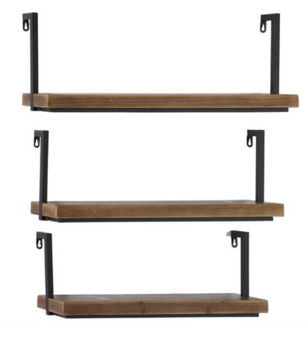 Small Rectangular Industrial Wood and Metal Shelves (Set of 3)