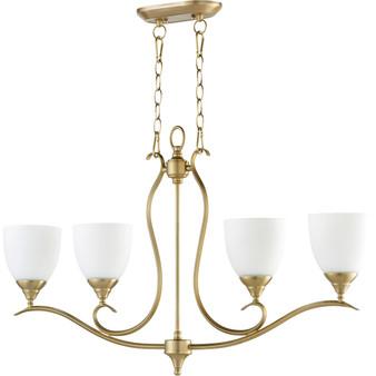 Flora 4 Light Pendant in Aged Brass