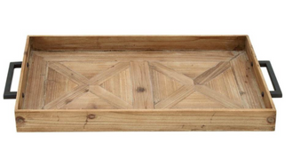 Extra-Large Rectangular Wooden Tray with Metal Handles