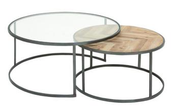 Metal & Wood Nesting Coffee Tables (Set of 2)