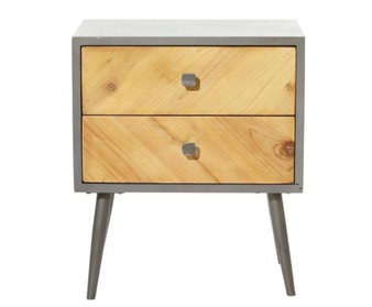 Grey and Brown Wooden Side Table