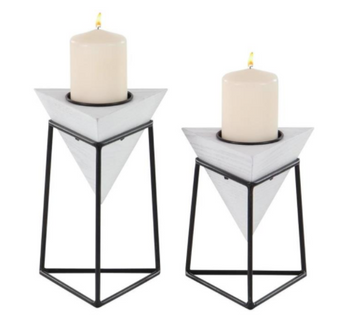 White Wood Candle Holders (Set of 2)