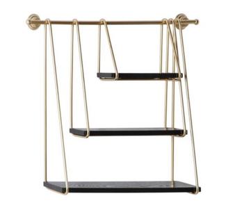 Gold Metal & Black Hanging Shelf