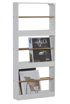 3-Tier Wood & Metal Magazine Rack