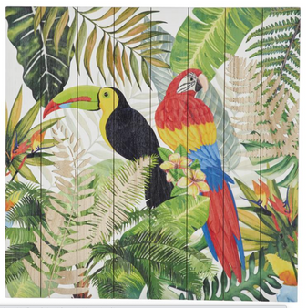 Square Multi Coloured Parrots Wood Wall Art
