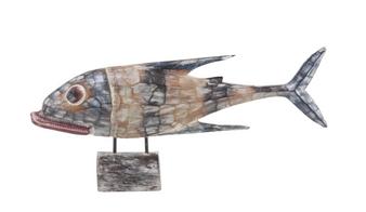 Coastal Wooden Fish Sculpture