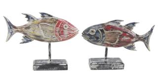 Coastal Wooden Fish Sculptures (Set of 2)