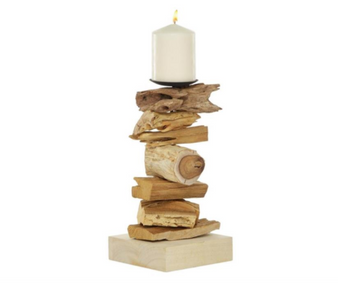 Stacked Wood Candle Holder