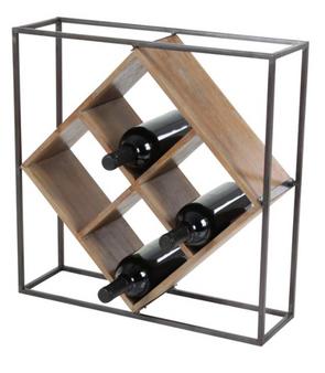 4-Bottle Wood & Iron Wine Rack