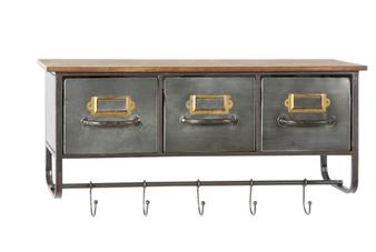 Rectangular Natural Wood & Silver Metal Wall Shelf